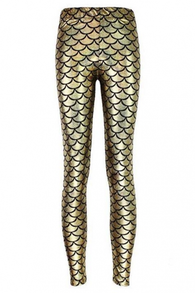 Blink Sexy Fish Scale Print Cropped Pencil Leggings