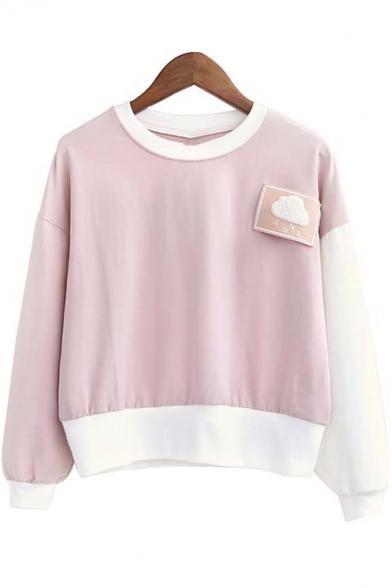 Cute Cloud Patchwork Color Block Long Sleeve Round Neck Sweatshirt