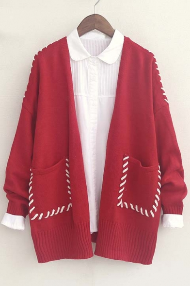 2016 Trendy Plait Detail Long Sleeve Open-Front Cardigan