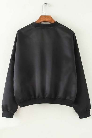 Fashion Stand-Up Collar Batwing Sleeve Zipper Front Bomber Jacket