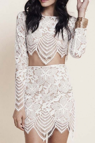 d844d84e72186 White Floral Crochet Lace Crop Top With Bodycon Skirt - Beautifulhalo.com