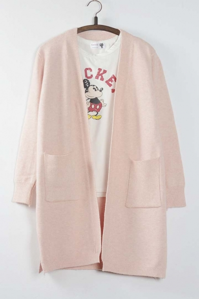 Fall New Open-Front Long Sleeve Pocket Cardigan