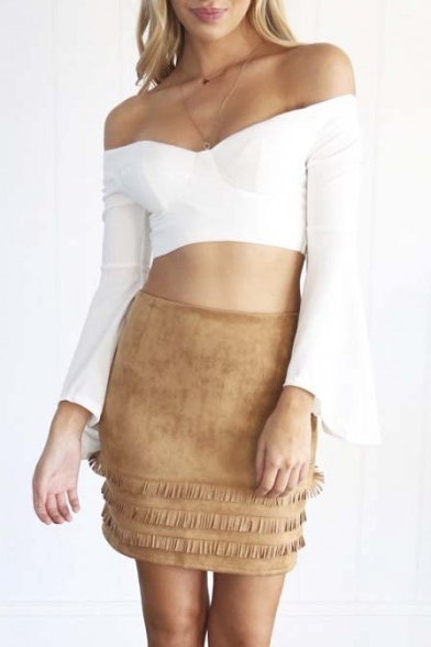 Fashion OL Style Tassel Plain Mini Bodycon Skirt