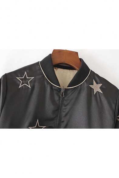 Stand-Up Collar Elastic Cuffs Zipper Placket Embroidery Pattern Both Side Baseball Jacket