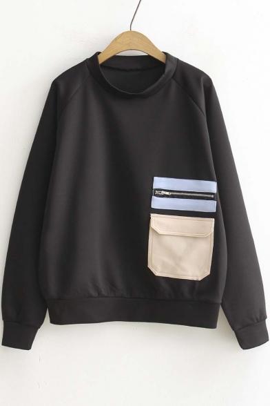 Stylish Color Block Pocket Long Sleeve Pullover Sweatshirt