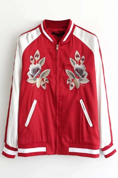 2016 Autumn New Trendy Floral Embroidered Color Block Baseball Jacket