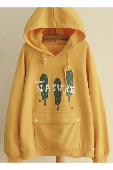 Fall Winter New Nature Tree Print Hooded Sweatshirt