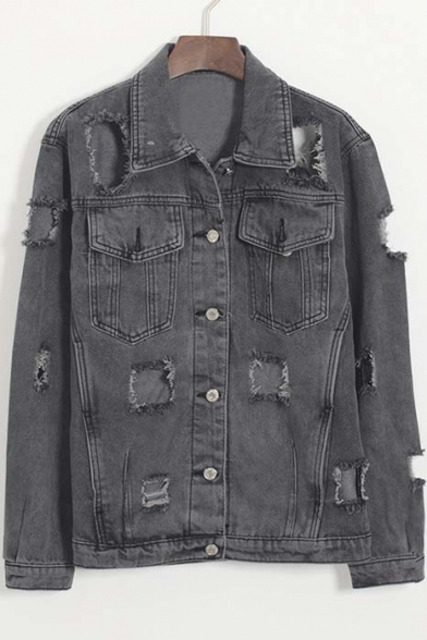 Fashion Cut Out Detail Single-breasted Lapel Denim Coat