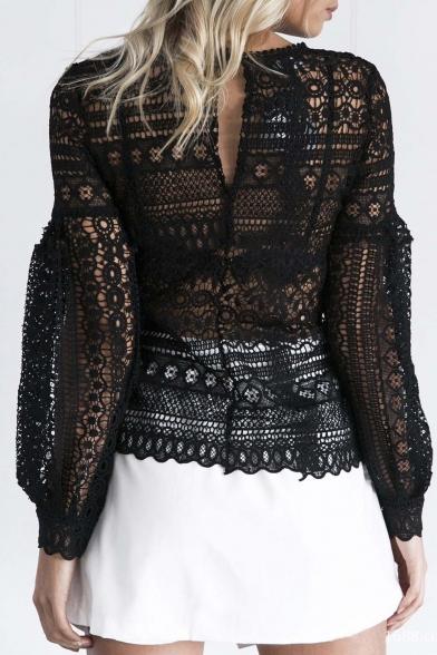 Fashion Lace Crochet Lantern Long Sleeve Cutout Back Blouse