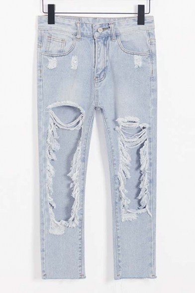 Light Blue Extreme Ripped Boyfriend Jeans