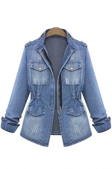 New Arrival Fashion Zipper Front Long Sleeve Denim Coat