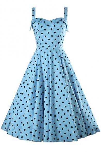 03efe2671f ... best cheap b76c2 87ca2 Womens Vintage Polka Dot Printed Sleeveless  Swing A-line Midi Dress ...