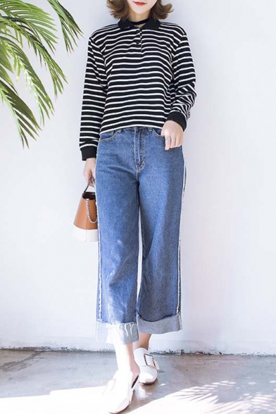 Arrival Spring Sleeve Long Fall Lapel T New shirt Striped Pqwd1xEAA