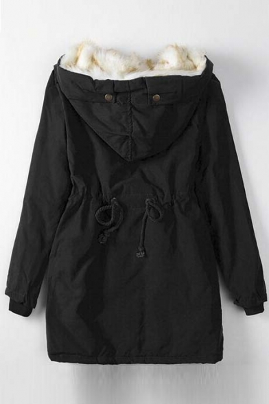 Winter Fleece-Lined Drawstring Waist Hooded Coat with Pocket