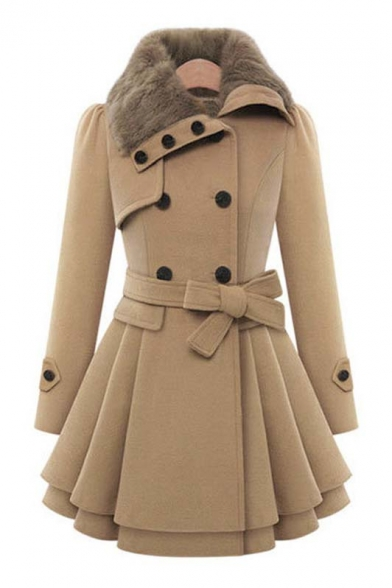 Women's Fashion Fur Collar Long Sleeve Coat with Belt