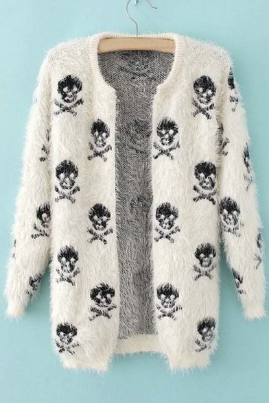 Women's Skull Pattern Long Sleeve Open-Front Cardigan