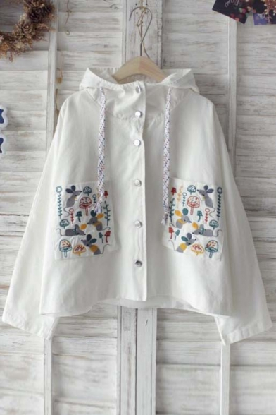 Chic Animal Embroidered Single Breasted Hooded Coat