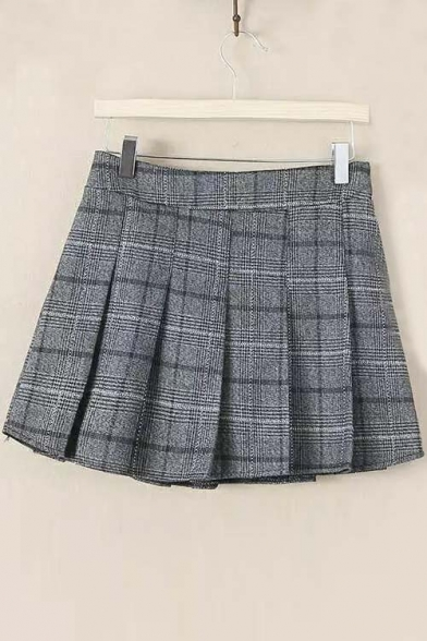 Fall New Plaid Elastic Waist Pleated Mini Skirt