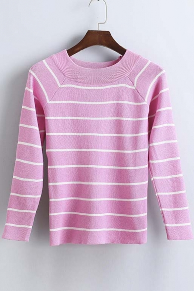 Slim Striped Color Block Raglan Long Sleeve Round Neck Sweater