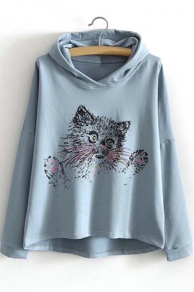 Fashion Cute Cat Print Dip Hem Hooded Loose Sweatshirt