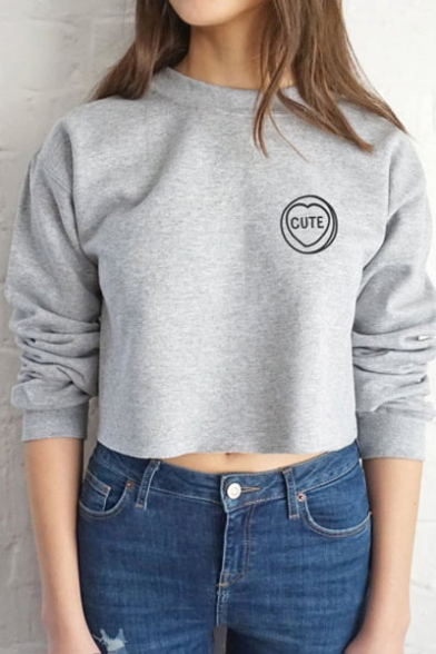 Fashion Cute Letter Print Long Sleeve Round Neck Crop Top Pullover ...