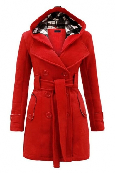 Fashion Hooded Lapel Long Sleeve Belt Waist Double Breasted Coat