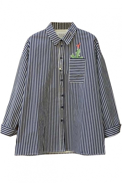 953f0793c8 Fashion Vertical Striped Floral Print Single Breasted Long Sleeve Lapel  Shirt
