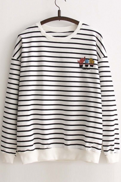 Neck Round Stylish New Striped Long Sleeve Cactus Embroidery Sweatshirt Pullover IqXqw