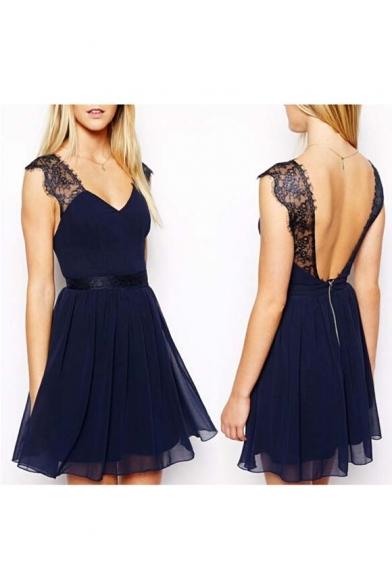 87a2f1fce72 Sexy V-Neck Open Back Lace Panel Sleeveless Chiffon A-Line Dress -  Beautifulhalo.com