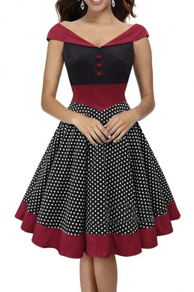 c9bff16aea Women s Vintage Style Off Shoulder V-neck Polka Dot Print Midi Dress -  Beautifulhalo.com