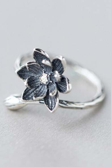 Women Sweaty Floral Opening Silver Ring