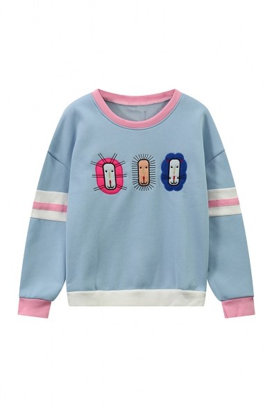 Contrast Trim Embroidery Cartoon Pattern Panel Dropped Long Sleeve Pullover Sweatshirt