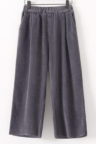 Elasticated Waist Corduroy Wide Leg Fashion Capris