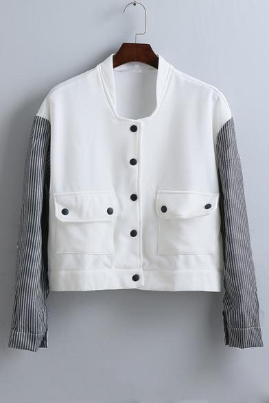 New Arrival Fashion Color Block Vertical Stripes Long Sleeve Jacket