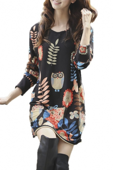 Printed Round Neck Long Sleeve Lose Midi Dress