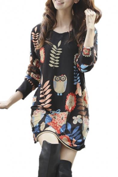 Printed Round Neck Long Sleeve Lose Midi Dress