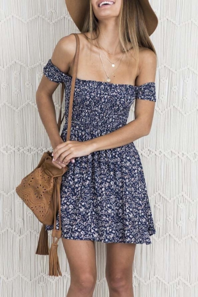 Dress the Short Mini Off A Print Sexy line Floral Sleeve Shoulder vxRpc5Fqw