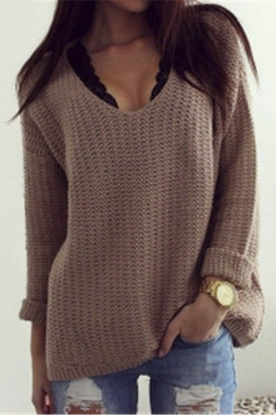 3ab380247 Women s Sexy V-neck Long Sleeve Loose Fit Sweater - Beautifulhalo.com