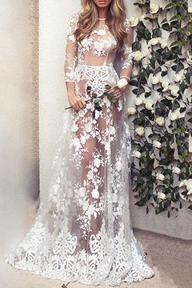 Sexy Fashion Sheer Lace Floral 3/4 Length Sleeve Maxi A-line Dress