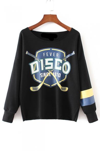 Striped Color Block Long Sleeve Cartoon Print Pullover Sweatshirt