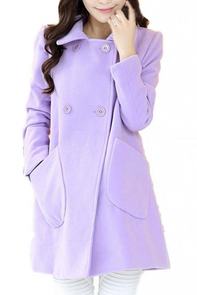 Women's A Line Double Breasted Wool Winter Coat