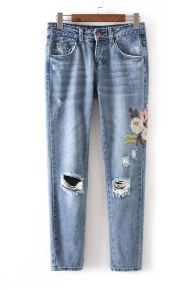Fashion Ripped Embroidery Floral Pattern Mid Waist Jeans