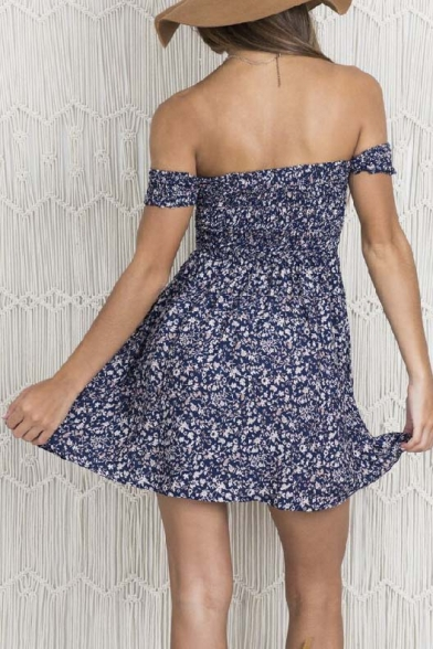 the Short Shoulder Sleeve Sexy A line Dress Off Print Floral Mini OwE5Otq
