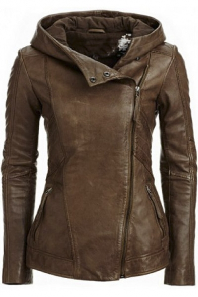 Hooded Women Solid Color Sleeve Retro Stylish Jacket Leather Long XqxwSCnnRd