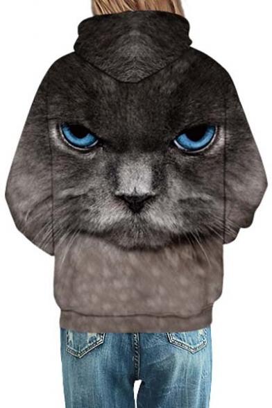 Unisex Hooded Black Cat 3D Print Long SLeeve Hoodie