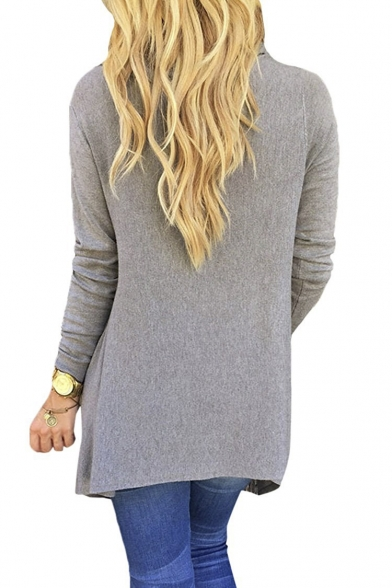 Women's Tassel Hem Crew Neck Knited Sweater Coat Outwear
