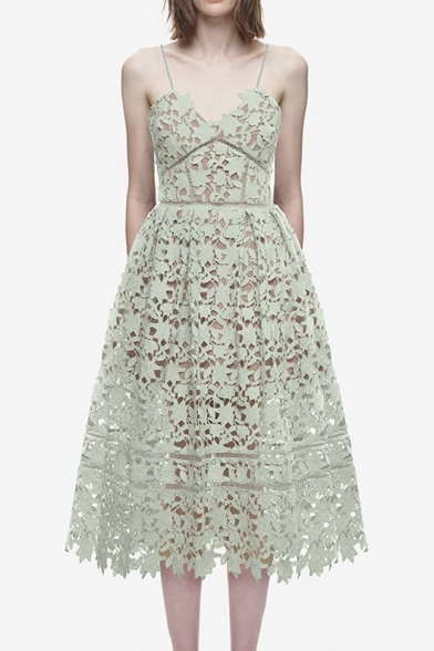 Elegant Spaghetti Lace Midi Straps Crochet Dress Fitted BFTrqBWg