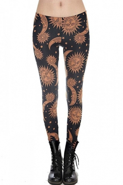 Fashion Boho Sun Moon Print High Waist Leggings