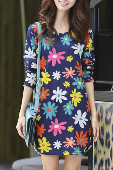 Round Neck Floral Print Long Sleeve Loose T-Shirt Dress