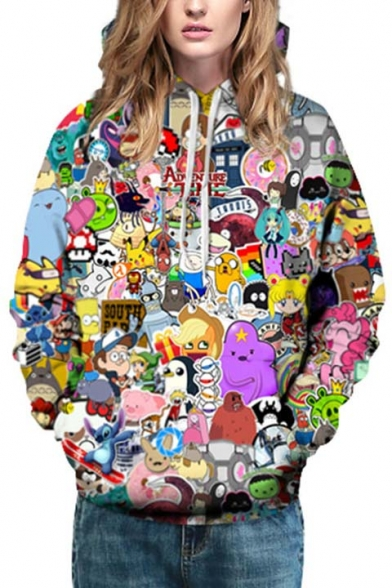 Unisex Hooded Cartoon Compilation 3D Print Long Sleeve Hoodie